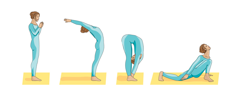 sun salutation yoga pose graphic 1
